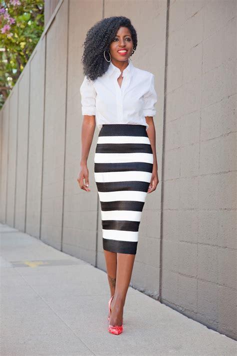 white shirt on white and black skirt trendy cooperate