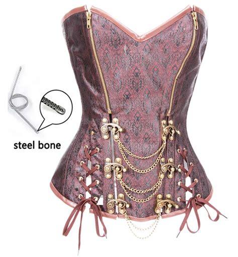 steel boned brocade halter leather retro steunk fullbust corset hp8510 hp8510 11 90 royalty vintage brown brocade steel bone overbust corset n10399