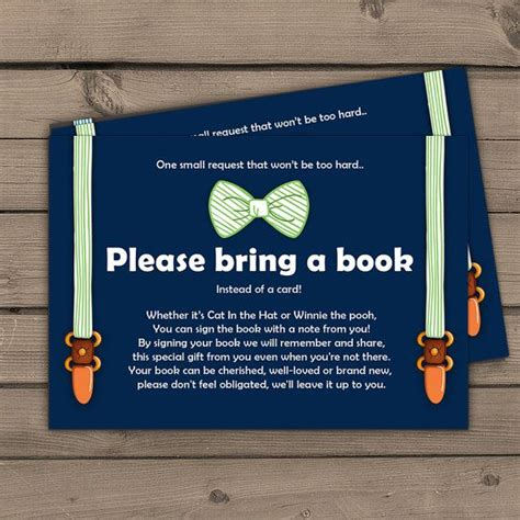 Bring A Book Instead Of A Card Babyshower Free Template by Baby Shower Bring A Book Card Baby Boy Oh Boy