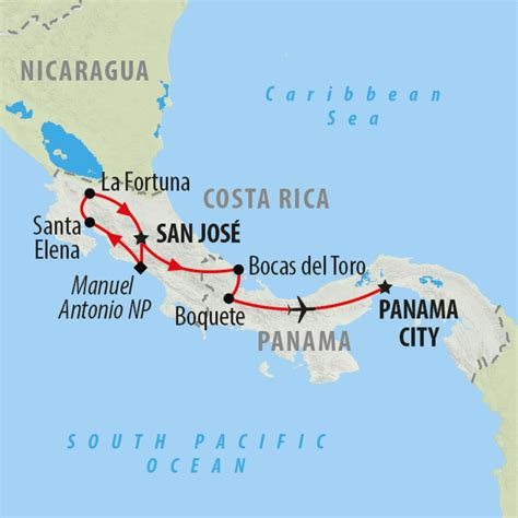 san jose nicaragua map costa rica tours holidays to costa rica on the go tours