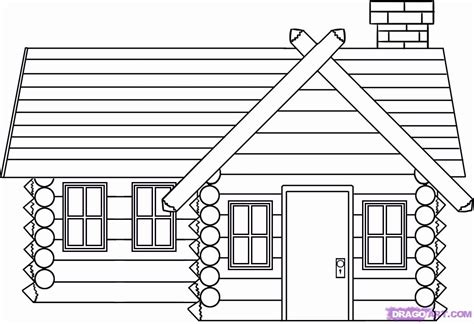 log cabin drawings log cabin coloring page coloring home