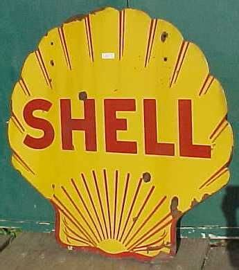shell gas station sign, old, worn out. these always