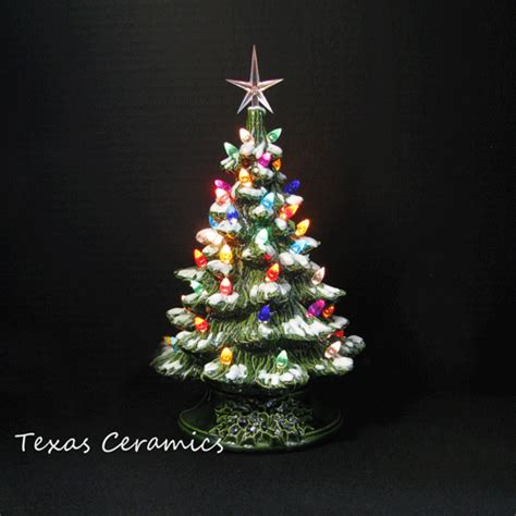 white snow tip ceramic christmas tree colorful lights 12