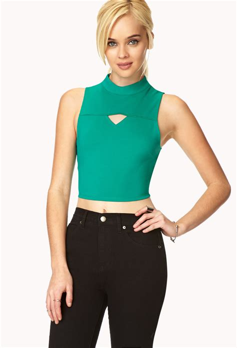Forever 21 Cut Out Shorts lyst forever 21 cool cutout crop top in green