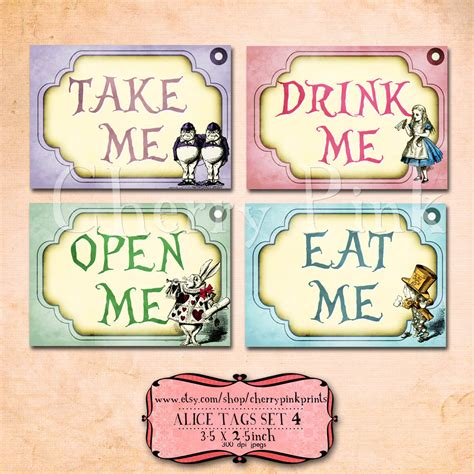 alice in wonderland printable name tags alice in wonderland tags party decorations perfect labels