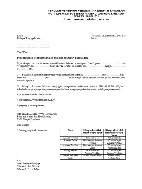 format surat amaran terakhir untuk ketidakhadiran ke sekolah