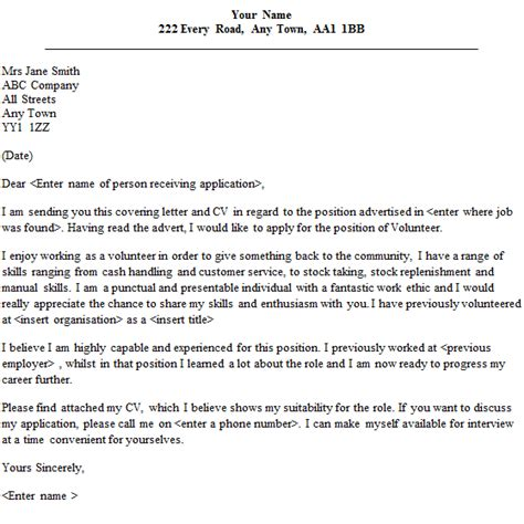 cover letter for volunteer work volunteer cover letter sle lettercv