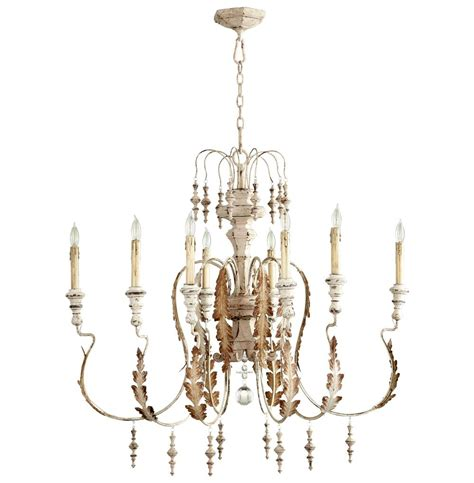 Country Chandeliers Marion Country White Washed 8 Light Chandelier Kathy Kuo Home