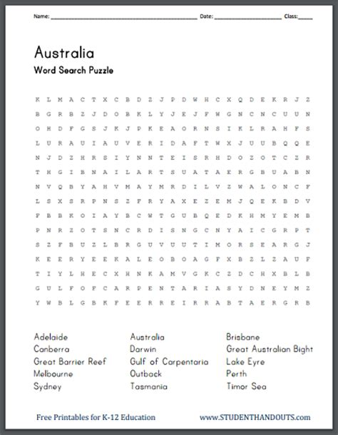 Search In Australia Australia S Geography Word Search Puzzle Student Handouts