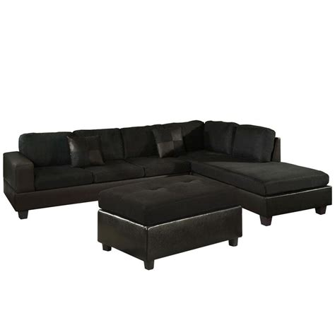 black microfiber ottoman venetian worldwide dallin sectional sofa with right