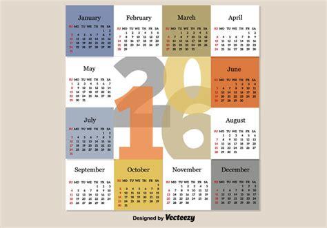 Calendario Moderno Modern Calendar 2016 Free Vector Stock