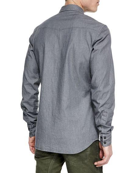 belstaff bowman sleeve washed denim shirt