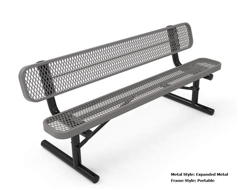 metal bench with back rhino 6 foot rectangular thermoplastic metal bench with