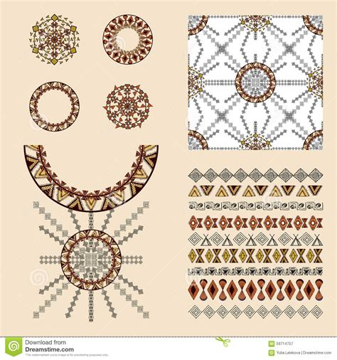design elements in fashion vector set with decorative ethnic elements vector