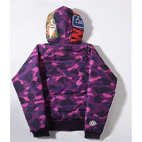 Sweater Jaket A Bathing Bape a bathing ape bape wgm camo shark hoodie purple