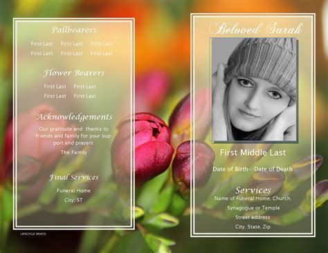 Lifecycleprints Celebration Of Life Funeral Program Templates Very Affordable Celebration Of Template Free