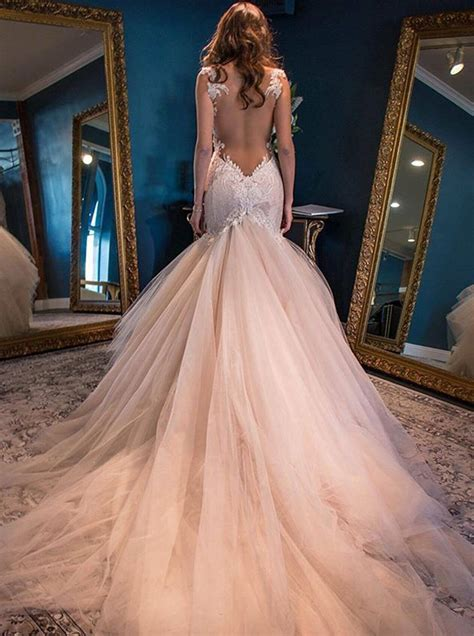 Chapel Wedding Dress by Mermaid Straps Backless Chapel Pink Wedding Dress