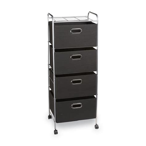 Storage Carts With Drawers And Wheels by Essential Home Chrome Black 4 Drawer Wire Storage Cart Kmart
