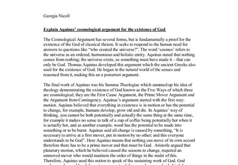 Aquinas Essay by Cosmological Argument Essay