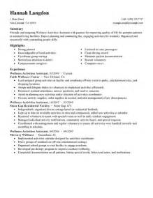 wellness activities assistant resume examples wellness