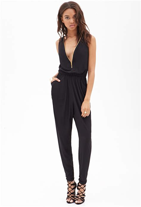 Jumpsuit Forever21 forever 21 zippered jumpsuit in black lyst