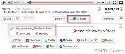 html format for url link how to share youtube videos in hd format with short urls