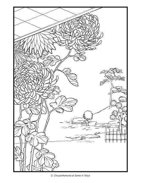flower coloring book hiroshige flowers japanese colouring book
