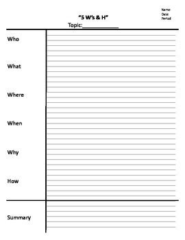 Note Sheet Template by Note Sheet 5ws And H Note Taking Cornell Notes Template