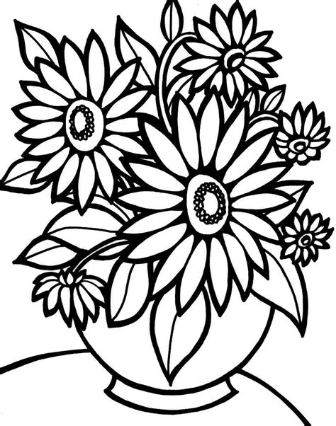 colouring pages bouquet flowers printable free for kids