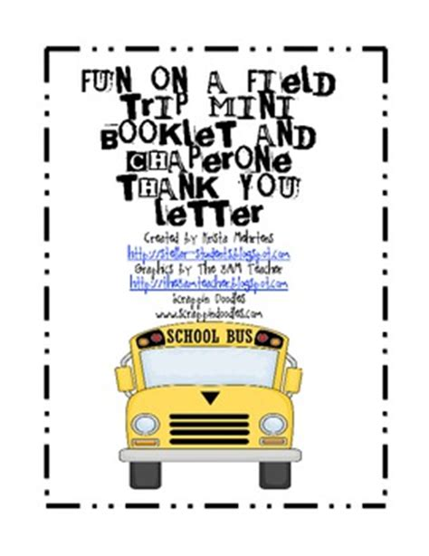 Thank You Letter Template Field Trip on a field trip mini booklet and chaperone thank you