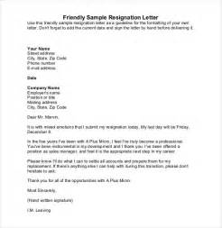 Friendly Letter Of Resignation by Simple Resignation Letter Template 28 Free Word Excel Pdf Format Free Premium Templates