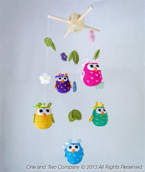 download pattern for mobile owls and flowers mobile pdf crochet pattern by