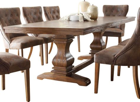 Salvaged Wood Dining Room Tables by Marie Louise Double Pedestal Dining Table Rustic Brown