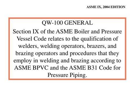 asme bpvc section ix ppt asme boiler pressure vessel code an international