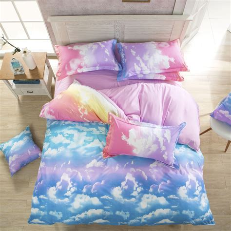 summer bed sheets wholesale 3d bedding set summer colorful cloud designer