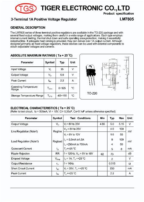 transistor lm7805 lm7805 4371876 pdf datasheet ic on line