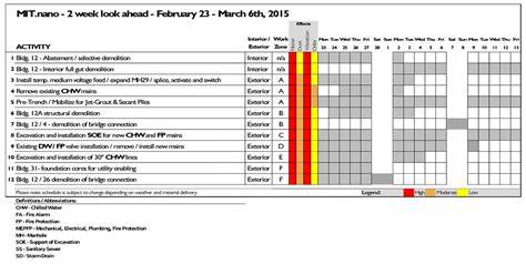 2 23 Construction Update Mit Nano 2 Week Look Ahead Schedule Template