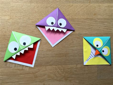 Origami Monsters - easy origami corner bookmarks turn them into