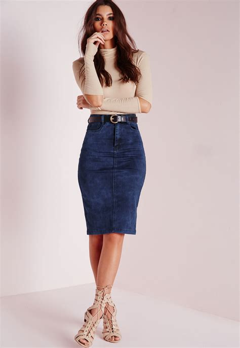 missguided high waisted midi denim skirt mottled blue in
