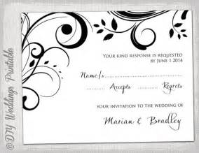 Rsvp Template Word by Rsvp Template Diy Black And White Scroll