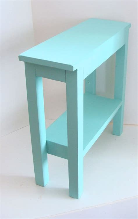 narrow side table aqua blue and cottage decor on