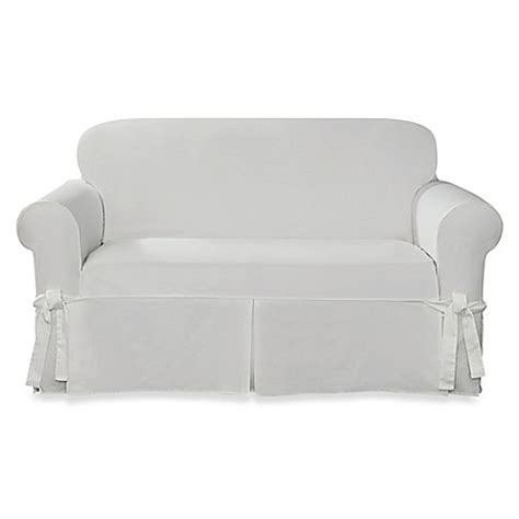 white sure fit slipcovers buy sure fit 174 designer twill loveseat slipcover in white