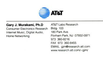 at t business cards gary j murakami
