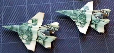 Origami Bills - how to fold an origami f 18 fighter jet out of a dollar