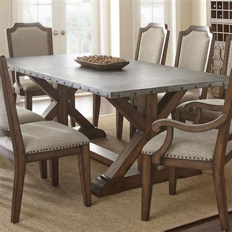 Silver Kitchen Table by Steve Silver Wayland Zinc Top Dining Table In Driftwood