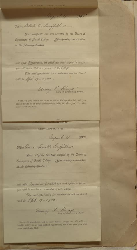 Smith College Acceptance Letter Ethel And Longfellow Scrapbook Special Collections Archives Of Waterloo