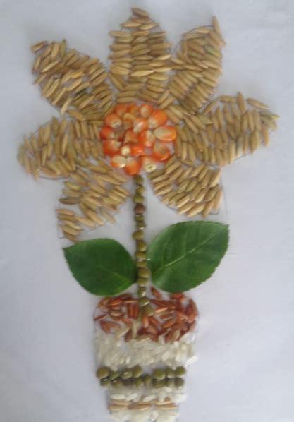 membuat mozaik  kolase unik  bahan biji bijian