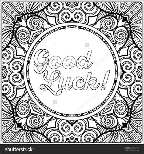 coloring pages luck luck lettering coloring page with message on vintage