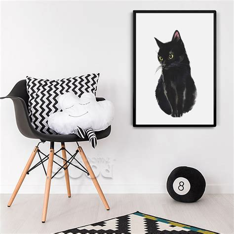 cat wallpaper home decor watercolor black cat canvas art print painting poster