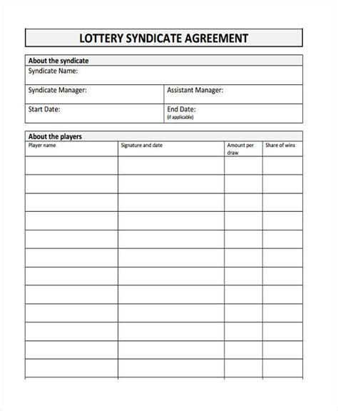 Lottery Syndicate Agreement Template
